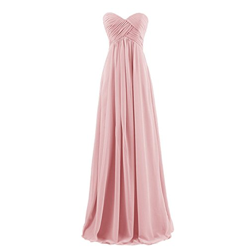 Lemai Sweetheart Pleats Long A Line Corset Formal Women Prom Bridesmaid Dresses Blush US18W