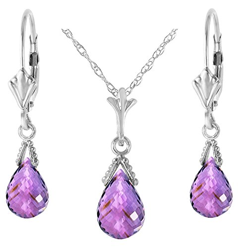 - 14k White Gold Jewelry Set: Natural Briolette Purple Amethyst 20