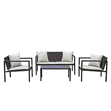 Living Express Stone Harbor 4 Piece Outdoor Patio Wicker Conversation Set with cushion, Sofa Set, Beige