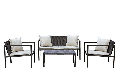 Living Express Stone Harbor 4 Piece Outdoor Patio Wicker Conversation Set with cushion, Sofa Set, Beige