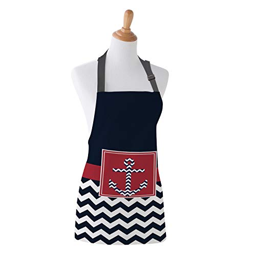 (T&H Home Nautical Anchor Apron, Chevron Zigzag Pattern Prints, Unisex Kitchen Bib Apron with Adjustable Neck for Cooking Baking Gardening Family Fun Apron, 15