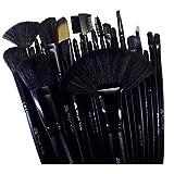 Brochas Maquillaje Profesionales Set De 32 + Estuche Color Negro