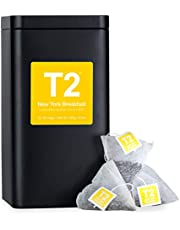 T2 Tea New York Breakfast Black Tea Bags in Tea Bag Caddy, 60-Count
