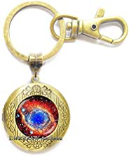 Nebula Helix Locket Keychain Cosmos Nebula Locket Keychain Nebula Key Ring Galaxy Jewelry Cosmos Key Ring Spac