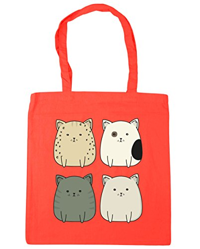 Tote Beach Squad cat x38cm 42cm Bag 10 Coral HippoWarehouse Gym Kitty litres Shopping anTppxtg