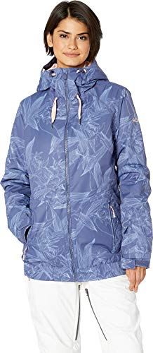 ROXY Snow Junior's Standard Valley Hoodie Snow Jacket, Crown Blue_Washed Floral, S (Roxy Hooded Jacket)