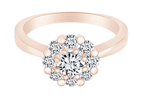 (AFFY 14k Rose Gold Over Sterling Silver Round Shape Lab Grown Diamond Flower Engagement Ring Size 6)