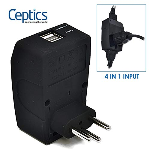 Ceptics GP4-11C 2 USB Brazil Travel Adapter 4 in 1 Power Plug (Type N) - Universal Socket