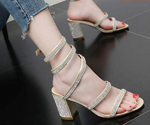 Snake shoes Heel Heels Rome Drill Fashion Water High women's Rough Shoes Black 8Cm Fairy GTVERNH Fresh Sandals Summer Winding Small tqzEw