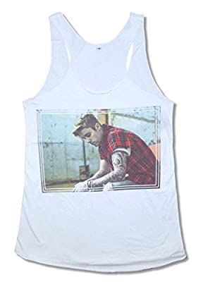 Justin Bieber Plaid White Juniors Tank Top Shirt