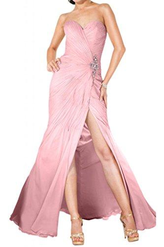Ranura en forma de corazón de la Toscana totalmente de la novia vestidos de noche encantadora de largo la gasa vestido de fiesta vestidos de bola Prom Rosa