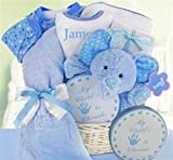 Minky Dots Personalized Baby Boy Gift Basket