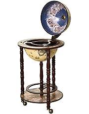 "HOMCOM Rolling 18"" Globe Wine Bar Stand Wine Cabinet Bottle Shelf Holder Wine Host Trolley with Wheels, Beige"
