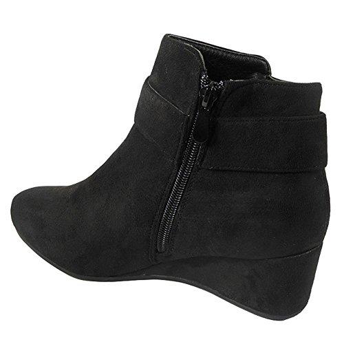 Mi Noir 8 Femmes Dames Haut Chunky Taille Bloc Talon Bottines Fort Chaussures Fausse Sude 3 Travail Look YqaCZx