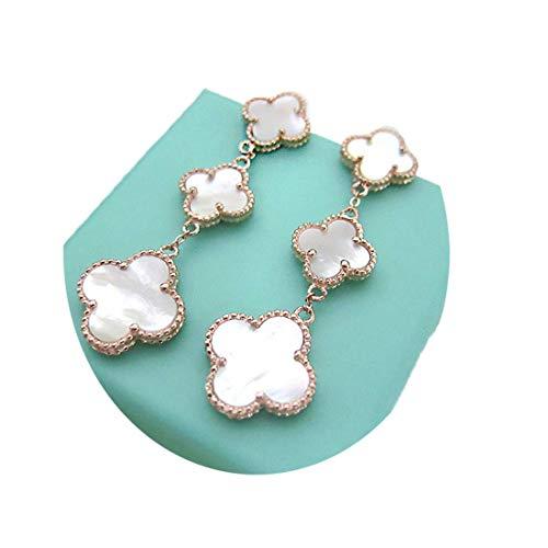 Women Black Onyx 18K Gold Plated 3-flowered Four-leaf Clover Earrings/Classic Fashion Leaf Van Cleef Pearl Clover Earrings,925 Sterling Silver 3 Color Flower Shape Earrings (White-rose gold) ()