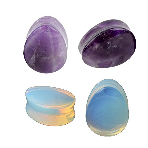 6mm Organic Body Jewelry Plugs - 2Pairs Opalite Moon Stone Amethyst Teardrop Ear Gauges Plugs Tunnels Expanders Stretcher Silicone Body Piercing Jewelry (0g(8mm))