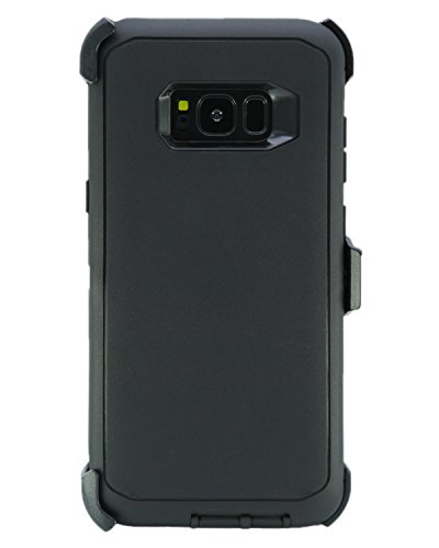 WallSkiN Turtle Series Cases for Samsung Galaxy S8 Plus (Only) Tough Protection with Kickstand & Holster - Shadow (Black/Black)