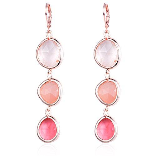 Fashion Women's Multilayer Rhinestone Diamond Triple Oval Colorful Drop Earrings