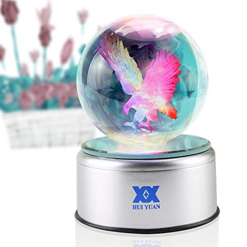 Eagle Gifts 3D Crystal Ball Bald Eagle Statue Figurines Collectibles LED table Lamp Night Light Clear Engraved 80mm Silver Rotating 7 Colors USB Scout Bird Phoenix for Boys ()