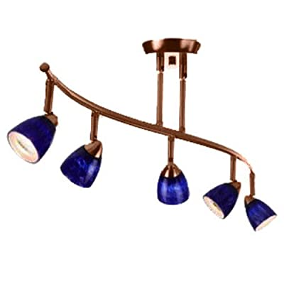 Cal Lighting SL-954-5-DB/BL Track Lighting with Blue Glass Shades, Dark Bronze Finish
