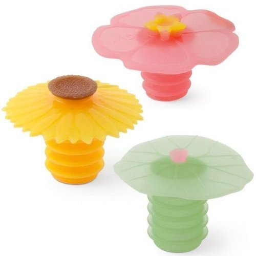 Charles Viancin Wine Bottle Stopper - Lily Pad, Sunflower & Hibiscus (Stoppers Rubber Wine)