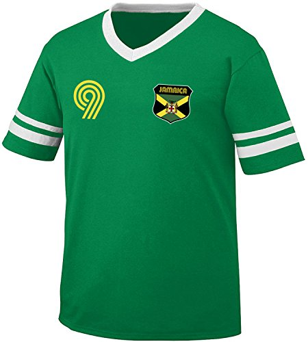 (Jamaica Soccer Style Crest and Number Men's Retro Soccer Ringer T-shirt, Amdesco, Kelly/White Medium)