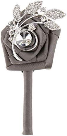 FLAMEER 新婦新郎シルクラインストーンコサージュブートニア結婚式の装飾 - グレー