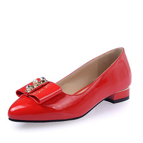 BalaMasa da donna metallo Bowknot Pull-On a punta in vernice pumps-shoes, Rosso (Red), 38