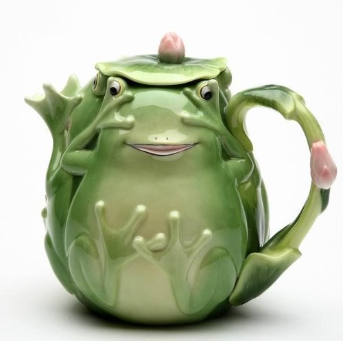 Green Lid Teapot (6.25 Inch Playful Smiling Green Fairy Frog Teapot with Lily Pad Lid)