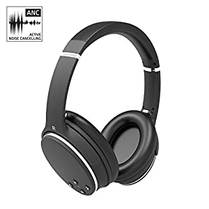 Active Noise Cancelling Stereo ANC Headphones Bluetooth 4.1 Wireless AXCEED Foldable Over-Ear Headsets Remote Control with Built-in Microphone Detachable Cable by AXCEED