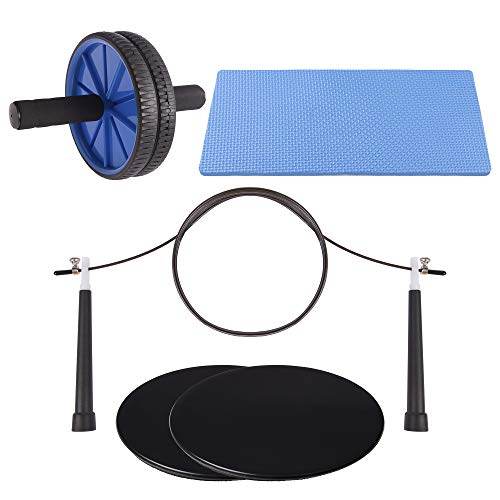 - NATURAL CHEMISTREE Ab Roller, Core Sliders, and Speed Jump Rope (3-Piece Set) Workout and Exercise Bundle | Build Strength and Lean Muscle, Burn Fat | Home Gym Training Equipment