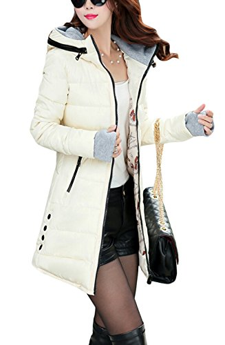 Slim 14 Longue Avec Parka Veste Manteau Couleurs Doudoune Ghope Manteau S XL D'Hiver Beige Capuche Femme Veste fnSE7SqwPx