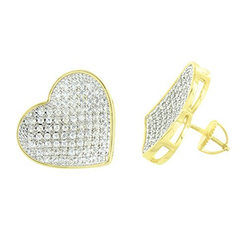 Women Heart Shape Earrings Screw Back 18 MM Lab Diamond 14K Gold Finish by Master Of Bling