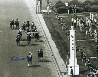 Ron Turcotte signed 1973 Kentucky Derby Horse Racing 16X20 Photo Vintage B&W Finish Line- Steiner Hologram
