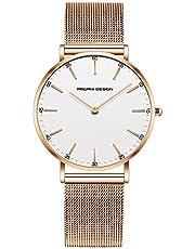 Pagani Design Uhr für Damen Edelstahl Wasserdichte Uhr Damenuhr mit analogem Quarz PD-1801L