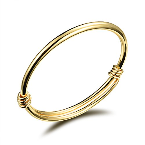 COCO Park Healthy Children Jewelry 18K Gold Plated Polish Cuff Bangle Adjustable Bracelet ()