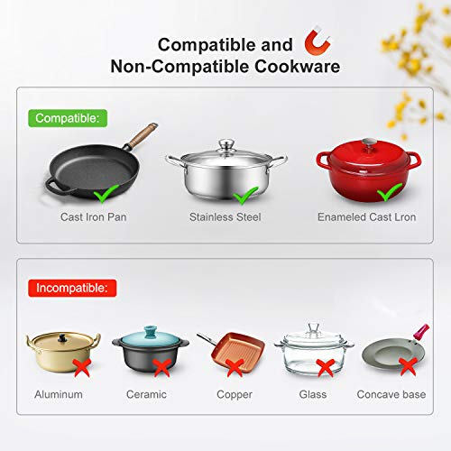 Bonsenkitchen 1800W Portable Induction Cooktop, Smart Sensor Touch Electric Cooking Hot Plate, 9 Power Level Rapid Heating Countertop Burner for Cast Iron, Stainless Steel Cookware