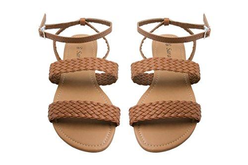 Sara Z Womens Ankle Strap Double Woven Band Flat Sandal Size 9/10 (Brown Woven Strap)