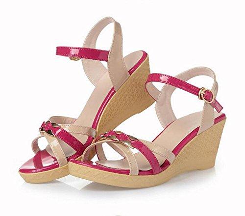 Parteischuhe L@YC Frauen Pisten und Sommer Dicke Leder High Heels Farbe Freundliche Sandalen , red , 38