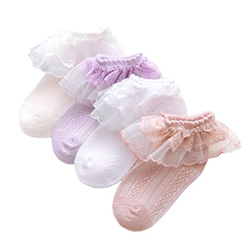 (4 Pairs Ruffled Lace Ankle Socks Baby Girl Pointelle Cotton Socks White/Off White/Purple/Blush for Infant & Toddler & Kid for 1-2 Years)