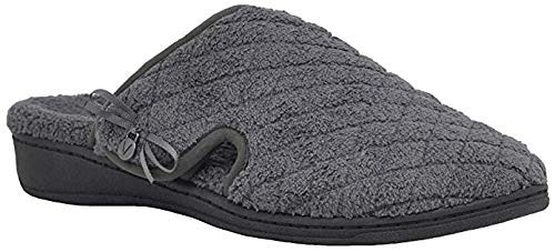 Vionic Women's Adilyn Slipper- Ladies Adjustable Slippers with Concealed Orthotic Arch Support Dark Grey 8 Medium US