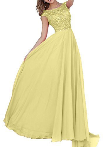 Partykleider Linie Hell Gelb Steine Damen Abendkleider A Elegant Abschlussballkleider Charmant Bodenlang Chiffon qvXaz1