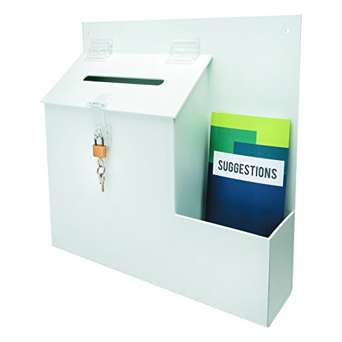 deflecto 79803 Plastic Suggestion Box with Locking Top, 13 3/4 x 3 5/8 x 13 15/16, (Plastic Suggestion Box)
