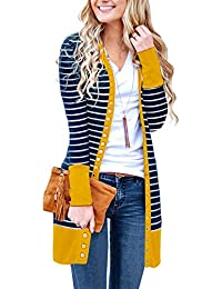 Women's V Neck Striped Long Sleeve Snap Button Down Ribbed Contrast Color Cardigan