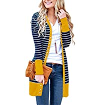 MEROKEETY Women's V Neck Striped Long Sleeve Snap Button Down Ribbed Contrast Color Cardigan