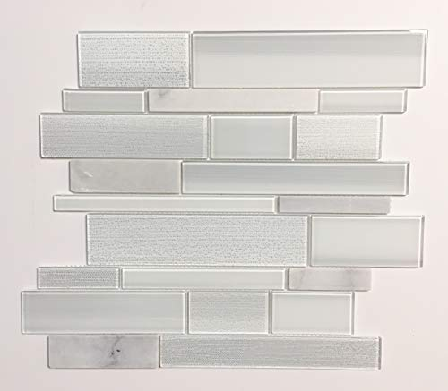 American Olean Cole Point Cloud White 12-in x 14-in Stone and Glass Linear Mosaic Wall Tile (Common: 12-in x 14-in; Actual 11.88-in x 14.31 in) 10 Tiles in Box ()