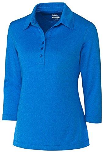 3/4 Sleeve Golf (Cutter & Buck Women's Cb Drytec 3/4 Sleeve Chelan Polo, Digital Heather, XXL)