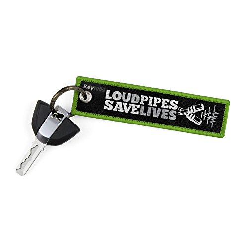 KEYTAILS Keychains, Premium Quality Key Tag for Motorcycle, Scooter, ATV, UTV [Loud Pipes, Save Lives]
