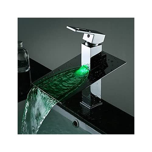 W&P Contemporary copper personalized single LED bathroom sink faucet chrome-silver free shipping