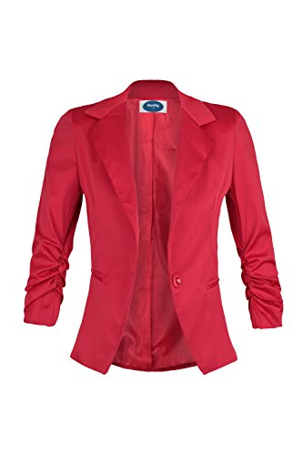 Red 4 Sleeves 4tuality Curved Ruched 3 Blazer Ao qwOpIa0